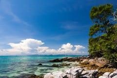 Uninhabited island. Beach on an uninhabited island in the Andaman sea Stock Photos