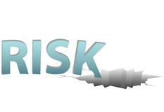 Uninsured RISK falls in dangerous financial hole. Uninsured RISK falls into a dangerous financial pitfall hole on a plain white page Royalty Free Stock Image