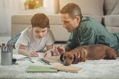 Uninterested dog lying near busy father and son stock images