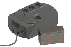 Uninterruptible power supply UPS with battery. 3D rendering. Uninterruptible power supply UPS with battery Stock Image