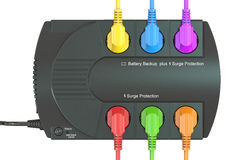 Uninterruptible power supply, UPS with colored electric plugs. 3 Stock Photos