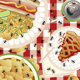 Uninvited Picnic Guests. An illustration of ants feasting on a picnic meal. The tablecloth pattern is seamless and repeats at 12. Food is grouped and on separate Royalty Free Stock Images