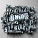 Union. The word union written in print letter cases Royalty Free Stock Photography