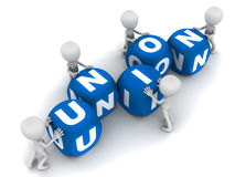 Union. Word being put together by little 3d men, in blue and white blocks, concept of  of people, process, or unification of some good parts of a process or Stock Images
