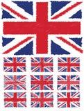 Union abstraite Jack Flag Set de fond de griffonnage illustration stock