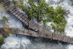 Union. Amazing wooden foot paths in Croatia, birds eye view Royalty Free Stock Photo