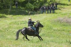 Union army calvary reenactor firing pistol. Royalty Free Stock Photos