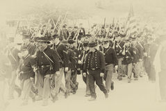 Union army marching to battle Royalty Free Stock Photography
