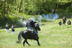 Union army reenactor on horse. Royalty Free Stock Images
