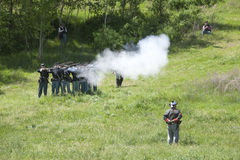 Union army reenactors in mock battle. Stock Photos