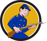 Union Army Soldier Bayonet Rifle Circle Cartoon. Illustration of a Union Army soldier during the American Civil War holding rifle with bayonet set inside circle Stock Images