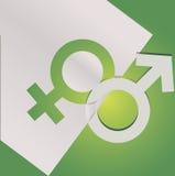 Union av manliga och kvinnliga symboler Arkivbild