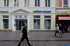 UNION BANK IN FLENSBURG GERMANY. Flensburg/Schleswig-Holstein/Germany. 05. October 2018..Union bank branch in Flensburg Germany . Photo. .Francis Joseph Dean / stock photo