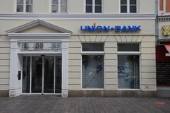 UNION BANK branch in flensburg germany. Flensburg/Schleswig-Holstein/Germany. 05. October 2018..Union bank branch in Flensburg Germany . Photo. .Francis Joseph royalty free stock images