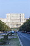 The Union Boulevard and the Palace of the Parliament from Bucharest, Romania. royalty free stock photography