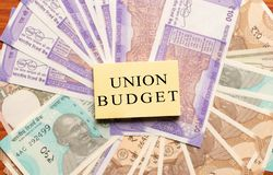 Union Budget printed on New Indian currency notes.  royalty free stock photos