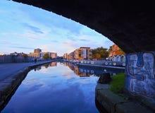 Union Canal in Edinburgh. UK, Scotland, Lothian, Edinburgh, Edinburgh Quay and the Lochrin Basin, Boats on The Union Canal Royalty Free Stock Photography