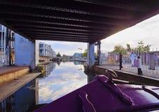 Union Canal in Edinburgh. UK, Scotland, Lothian, Edinburgh, Edinburgh Quay and the Lochrin Basin, Boats on The Union Canal Stock Photography
