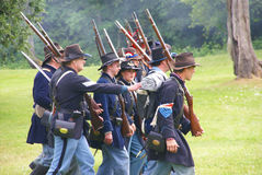Union Civil War reenactors marching Royalty Free Stock Image