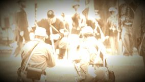 Union Civil War soldiers marching in battle (Archive Footage Version). View of Union Civil War soldiers marching in battle (Archive Footage Version stock video