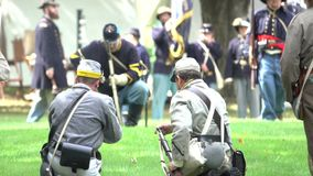 Union Civil War soldiers marching in battle stock video
