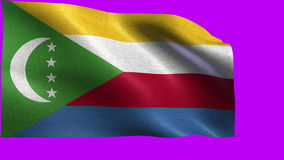 Union of the Comoros, Flag of Comoros - seamless LOOP. Beautiful 3d flag animation on green/blue screen in 4k format - seamless looped stock video