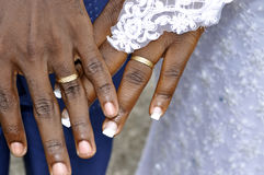 UNION CONCEPT FOR LIFE. African couple presenting their finger with their alliances and demonstrating us the concept of union for life Stock Photography