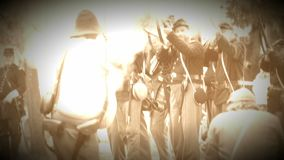 Union and Confederate Civil War soldiers in bat(Archive Footage Version) stock video footage