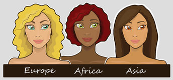 Union. Cute europe, african and asian girls Stock Images