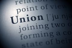 Union. Dictionary definition of the word Union Royalty Free Stock Photography