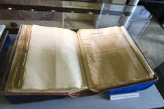 Union documents. Volume from Romanian union documents from 1 December 1918 expose in Union Museum from Alba Iulia, Romania Stock Image