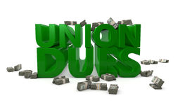 Union Dues. The words union dues rendered in 3D with bundles of money Royalty Free Stock Photo