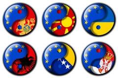 Union européenne et Monténégro, Macédoine, Ukraine, Albanie, Bosnie, Serbie illustration libre de droits