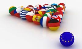 Union européenne sous forme de boules de billard de pyramides Image stock