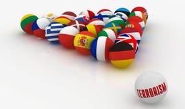 Union européenne sous forme de pyramides des boules de billard - la menace du terrorisme - illustration 3D Photographie stock