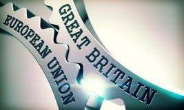 Union européenne de la Grande-Bretagne - texte sur le mécanisme de métallique Photos stock