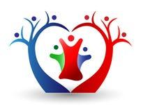 Union, förälskelse och lyckligt för familj i en hjärtaformlogo Fotografering för Bildbyråer