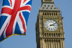 Union Flag and Big Ben Royalty Free Stock Photography
