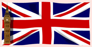 The Union Flag with Big Ben. Royalty Free Stock Images