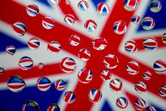 Union flag / jack. British flag with multiple reflections in water drops Royalty Free Stock Photos