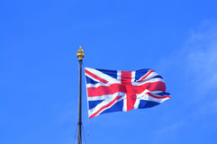 Union Flag London. Union Flag flying from the iron flagstaff on the top of Victoria Tower,Westminster Palace,London United Kingdom Royalty Free Stock Images
