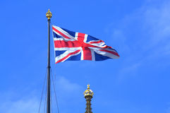 Union Flag London. Union Flag flying from the iron flagstaff on the top of Victoria Tower,Westminster Palace,London United Kingdom Stock Photo