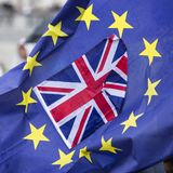 Brexit, Union Flag and European Flag. A Union Flag or Union Jack is located within a European Flag, symbolic image for Brexit stock photo
