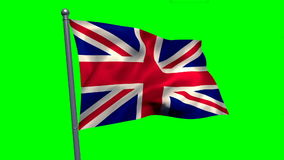 Union flag waving against green screen. Close-up of union flag waving against green screen stock video footage