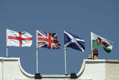 Union flag (wrong way up) with English Welsh Scottish flags Stock Image