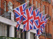 Union Flags. Union flags on display - pride in a nation Stock Images