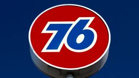 Union 76 Gas Station Sign. GILROY, CA/USA - MAY 26, 2014:  Union 76 gas station sign. Union 76 is a chain of automotive service station in the United States stock footage