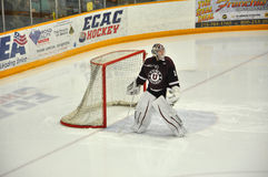 Union goalkeeper warmup in NCAA Hockey Game Royalty Free Stock Photo