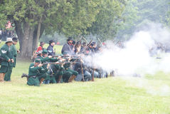 Union infantry fire a volley Stock Photography