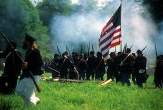 Union infantry line fires Stock Photography